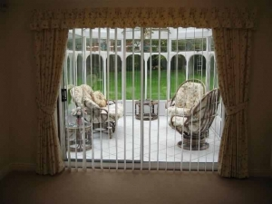 Lined curtains with pinch pleat valance & tie backs, Gosforth