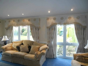 Upholstered shaped pelmets with interlined curtains & tie backs using Pt fabrics, Ponteland