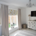 Pinch pleat curtains & Roman blind in Laura Ashley fabric, Forest hall