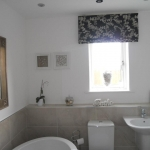 Bathroom Roman blind using Laura Ashley fabric, Forest hall