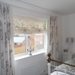 Pinch pleat curtains & Roman blind using customers own fabric, Forest hall
