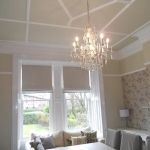 Dining room roman blinds with contrast border ,Clarke & Clarke fabric , Jesmond