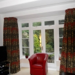 full length lined curtains, square bay using Clarke & Clarke fabric, Gosforth