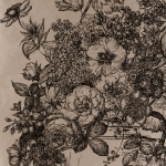 Clarke & Clarke Floribunda wallpaper Black Gold