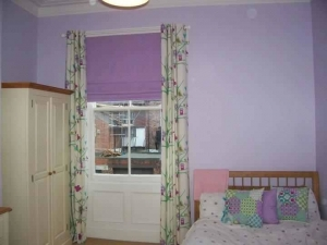 Children's bedroom eyelet curtains, roman blind & cushions using Pt fabrics, Jesmond