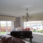 Roman blinds & shaped upholstered pelmets using Clarke & Clarke fabric , Northumberland
