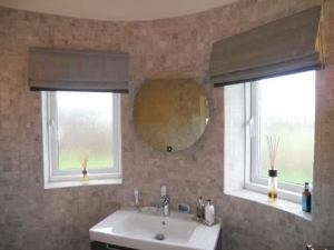 Bathroom roman blinds interlined silk with contrast border, Northumberland