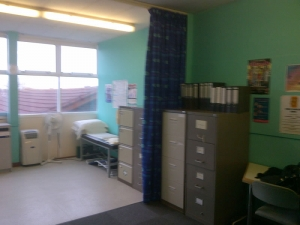 School medical room curtains using FR Fabrics, commercial work Cramlington