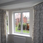 Pinch pleat curtains using Vanilla fabrics on bay window pole, Sunderland