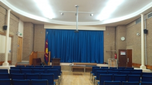 Stage curtains in Brunswick Methodist church, using FR fabric, Newcastle